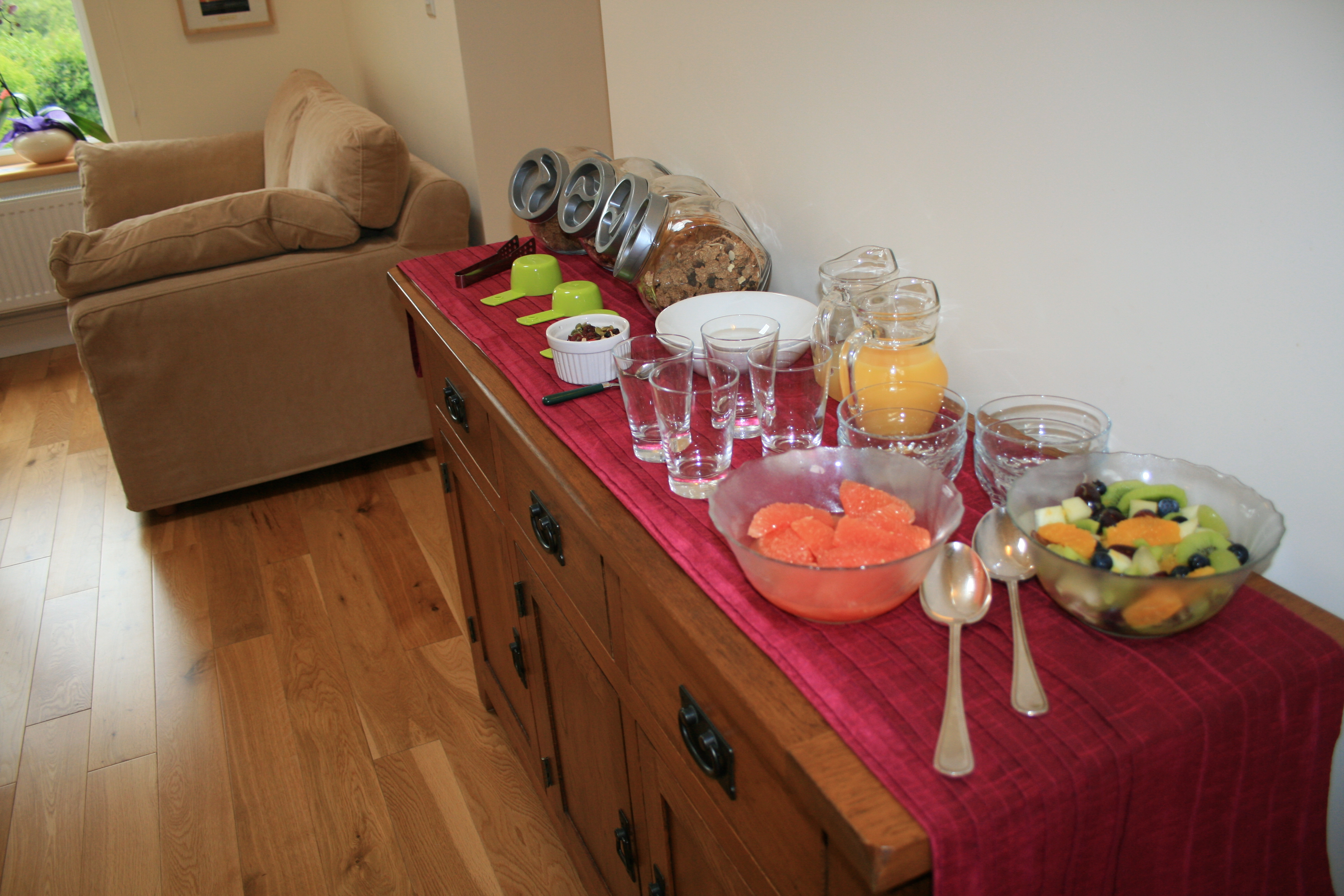 Breakfast items and Reclining Area